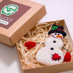 Details About Wool Snowman Brooch Cute Christmas Gift Smiley Felt Snowman Handmade Jewelry Pin