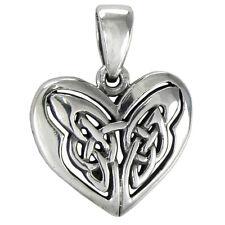 Small Celtic Sterling Silver Love Knot Heart Pendant Irish Knotwork Jewelry