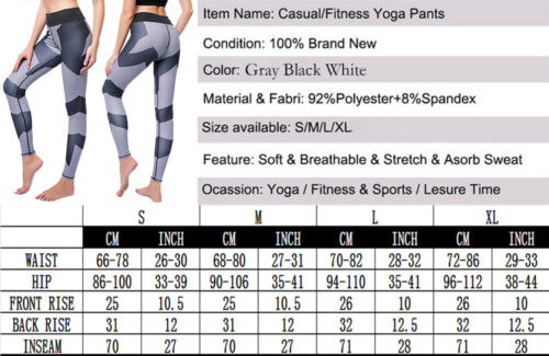Women Yoga Fitness Leggings Running Stretch Sports High Waist Pants Trousers US