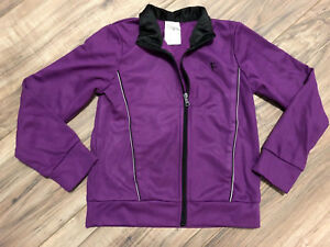 Danskin-Now-Girls-XS-4-5-Long-Sleeve-Full-Zip-Purple-Black-Athletic-Jacket