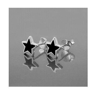 1 Paar Stern Ohrstecker Sterne Ohrringe Onyx schwarz aus Echt Silber 925 Neu