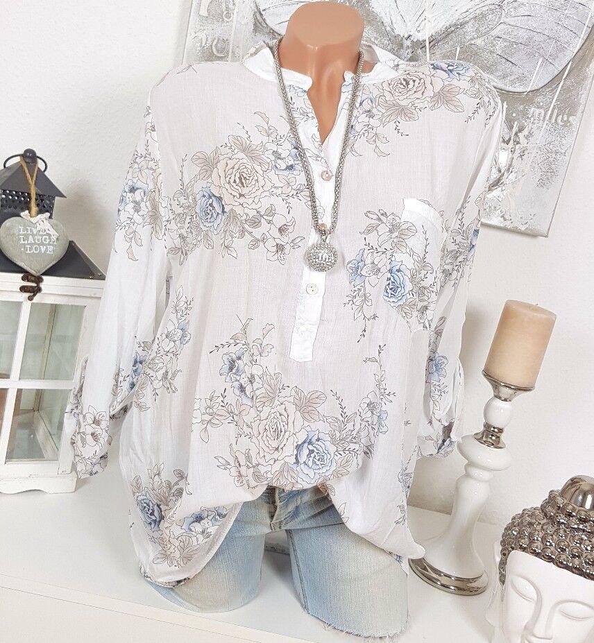 Camicia di Pesca Fiori Camicetta Oversize Floreale Bianco Fiorito 40 42 Vintage