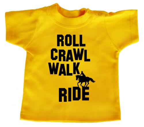 "Horse Riding Baby T-Shirt /""Roll Crawl Walk Ride/"" Boy Girl Pony Clothes"
