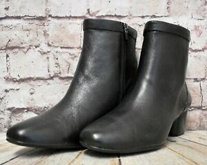 Black Leather Ankle Boots UK 7 D EUR 41