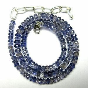 """94.00 CT Iolite Gemstone Rondelle Faceted Beads 19.5"""" NECKLACE 4.5-5.5MM S38"""