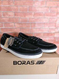 Entierement-neuf-dans-sa-boite-Homme-Boras-noir-blanc-marin-daim-Bateau-Pont-Baskets-Chaussures-UK