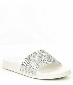 7d288d34b3fc Image is loading NIB-Michael-Kors-Gilmore-Slides-White-Silver-Crystals-