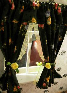 Begeistert Miniatur-gardine,15,5cm,anthrazit-schwarz,mit Bunten Rosen,rüschenspitze,1:12