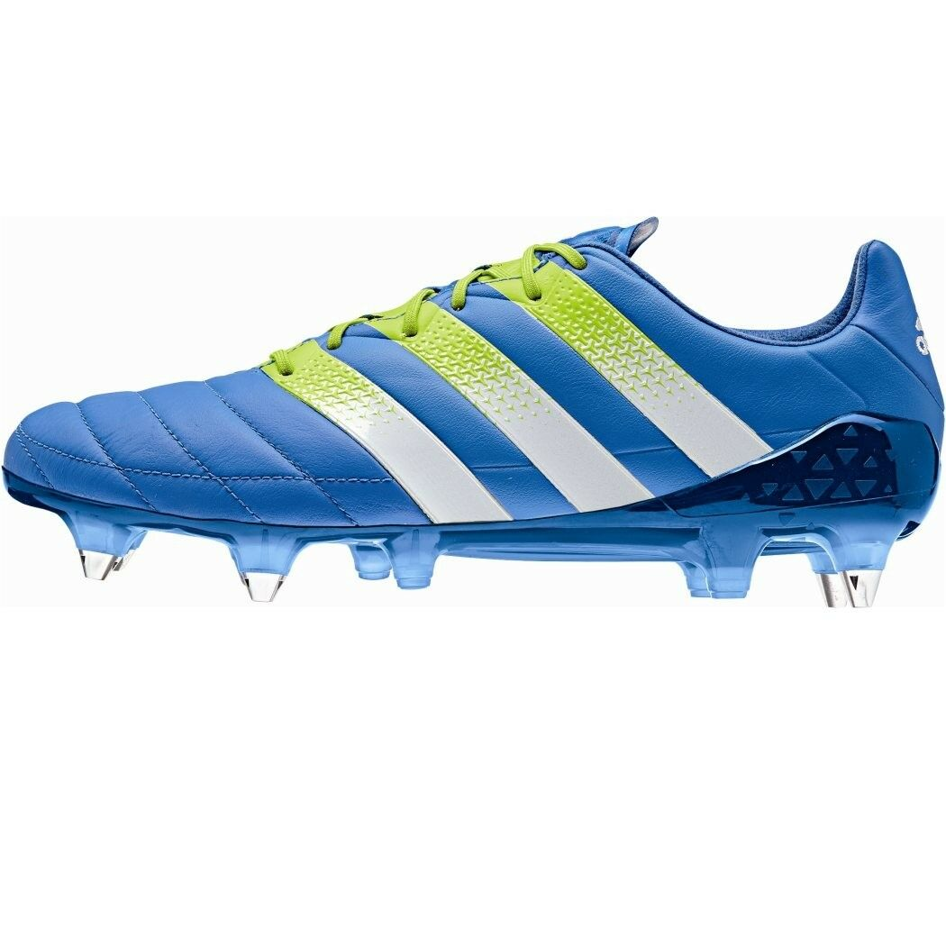 Adidas Ace 16.1 SG cuir cuir Football bottes with Screw Great bleu