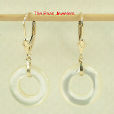 TPJ 14k Yellow Solid Gold Lever Back Donut Shaped White Mother of Pearl Earrings
