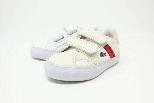 Lacoste Fairlead S CLA # 7-28SPI2006286 White /& Red Toddler Velcro Sneaker