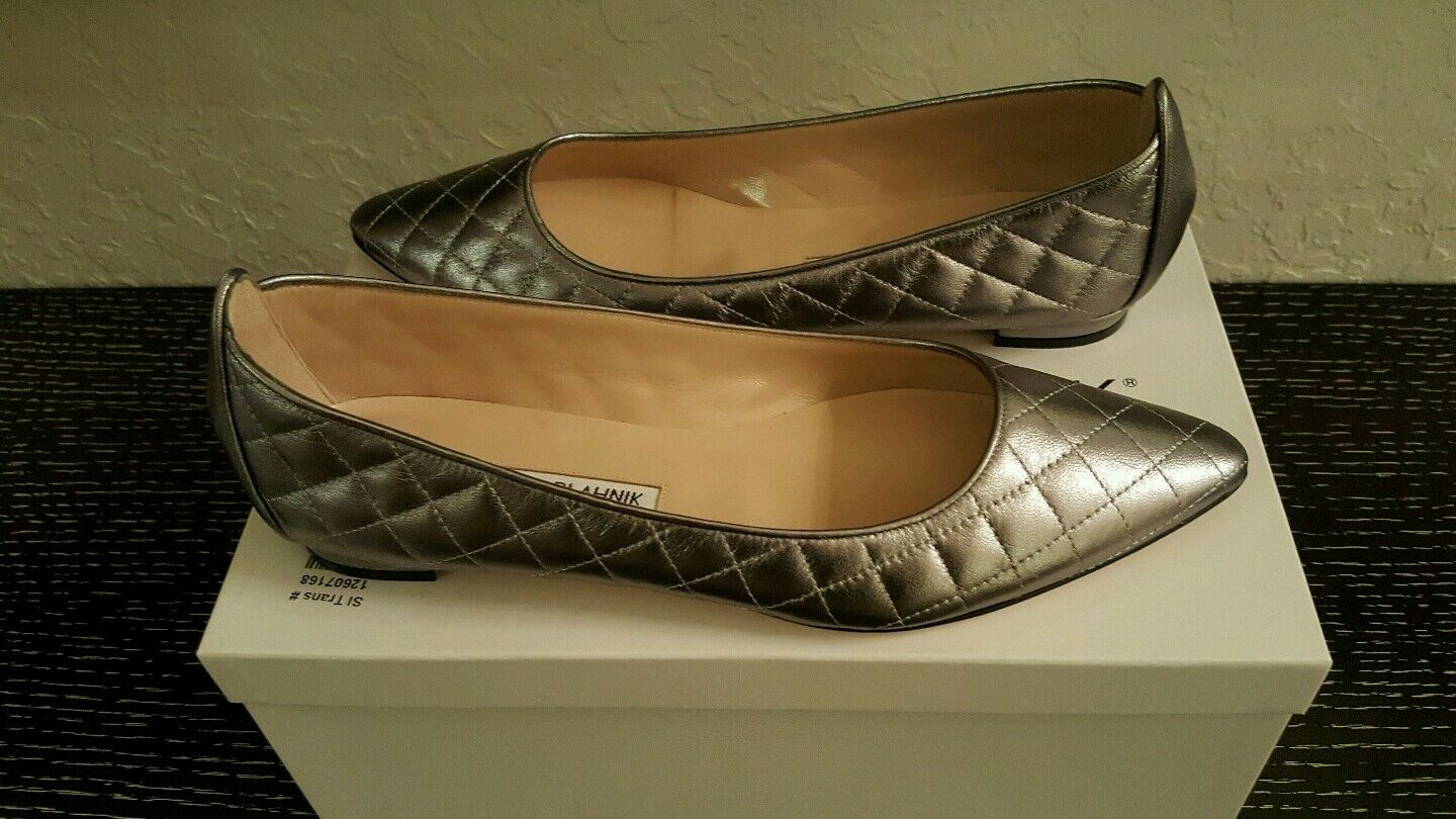 765 NEW  MANOLO BLAHNIK PEWTER QUILTED LEATHER  POINTED TOE BALLET FLATS 37.