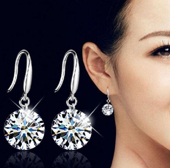 Fashion Women Silver White Crystal Rhinestone  Earrings Stud Hook Earrings Gift