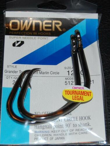 OWNER GRANDER TOURNAMENT MARLIN CIRCLE Hooks Size 12//0 Pack of 2 Legal 5127T-221
