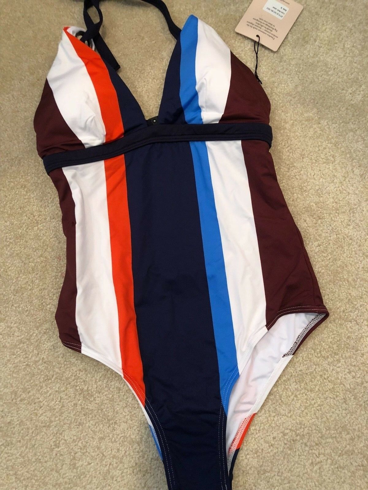NEW W  TAGS WOMENS ONE PIECE BATHING SUIT SIZE S MYA - GROMMET STRAP STRIPED