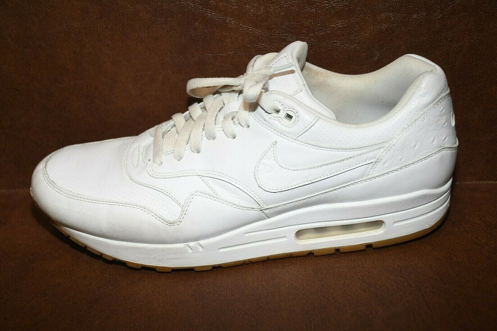 NIKE AIR MAX 1 LEATHER PA WHITE GUM OSTRICH PACK 705007 111 CLEAN! SIZE 13M