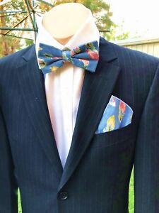 b3c45b604cc0 Mens Bow tie Pre-tied Bowtie Floral Flower Blue Feather Cotton ...