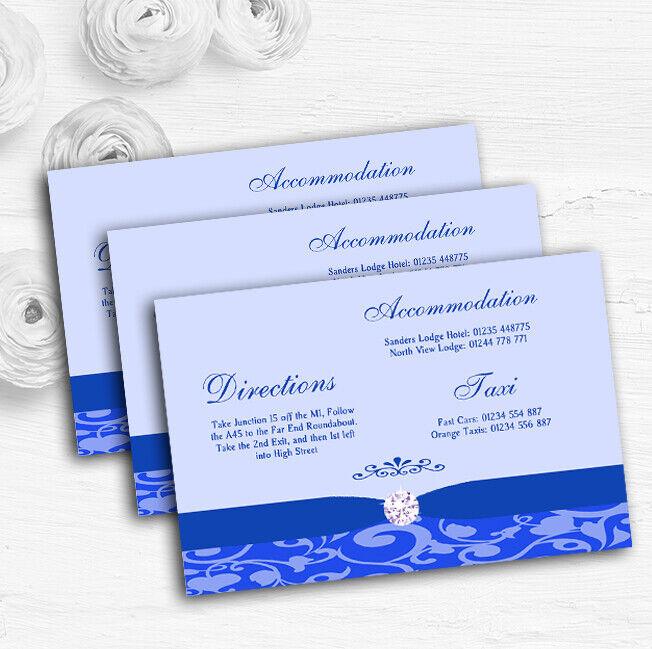 Cobalt Blau Vintage Floral Damask Diamante Wedding Guest Information Cards