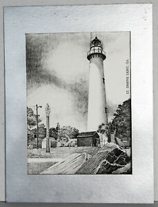 1997-Print-Signed-Carlos-Leon-St-Simons-Light-Georgia-GA-Wall-Art