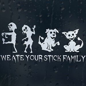 Funny Zombie Family Cat And Dog Car Decal Vinyl Sticker