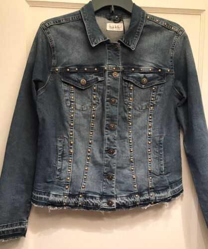 Nicole Miller Large Blue Gold Studded Button Up R… - image 1