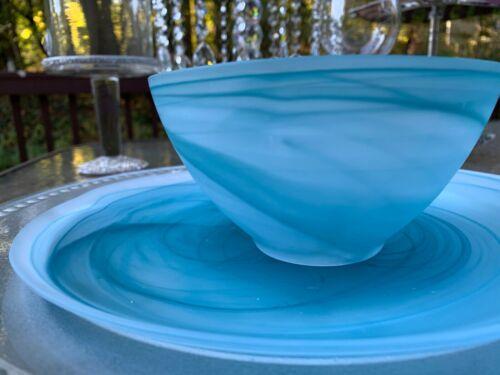 Akcam Turkish Handmade Blue Glass Translucent With Blue Swirl Plates