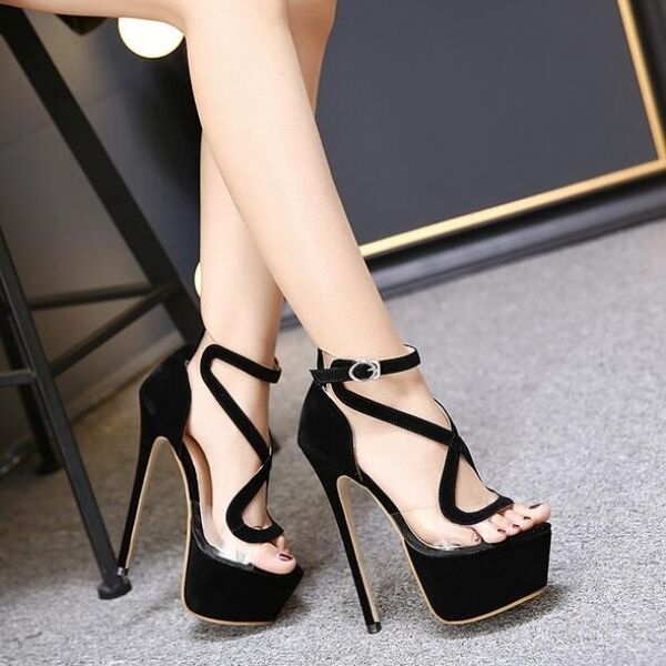 sandali tacco 17 cm plateau nero eleganti cinturino stiletto simil pelle CW466