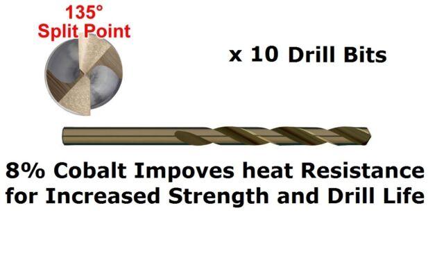 10 Pack Alpha Cobalt Drill Bits 4mm HSS,  METAL - Hi Tensile - Stainless Steel