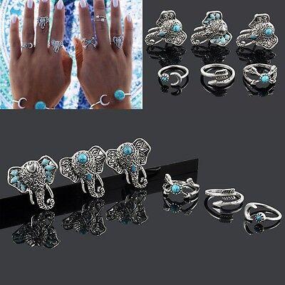 Retro 6X/Set Silver Boho Arrow Turquoise Moon Elephant Midi Finger Knuckle Rings