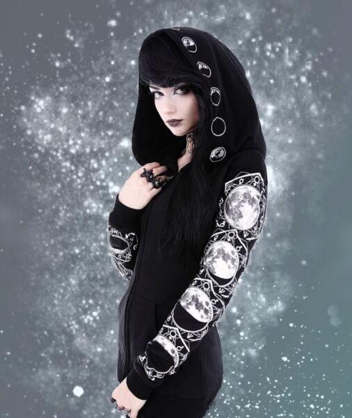 Gothic Okkult Jacke Kapuze Hoodie Lunar Moon Phases Mond S M L XL XXL