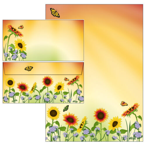 Sonnenblumen Motivpapier Briefpapier Mappe 20 Blatt A4 20 Kuverts Blüten Blumen