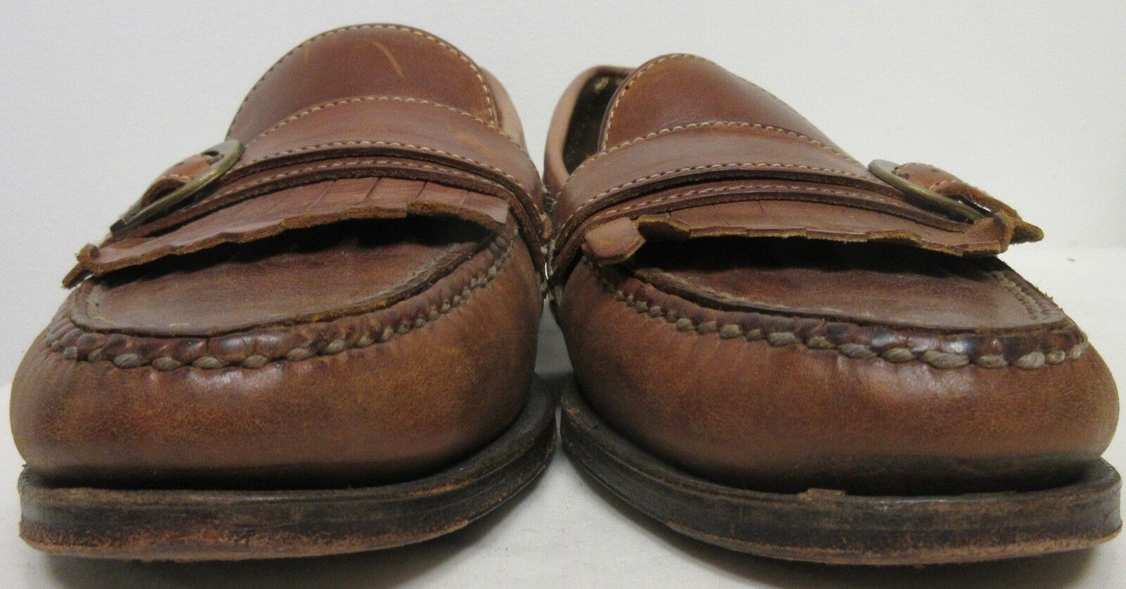 H.S. H.S. H.S. TRASK BROWN LEATHER CASUAL LOAFERS SHOES BRASS TONE BUCKLE Uomo SIZE 10.5 dc5ac2