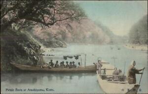 Kioto-Kyoto-Japan-Picnic-Boats-at-Arashiyama-c1910-Hand-Colored-Postcard