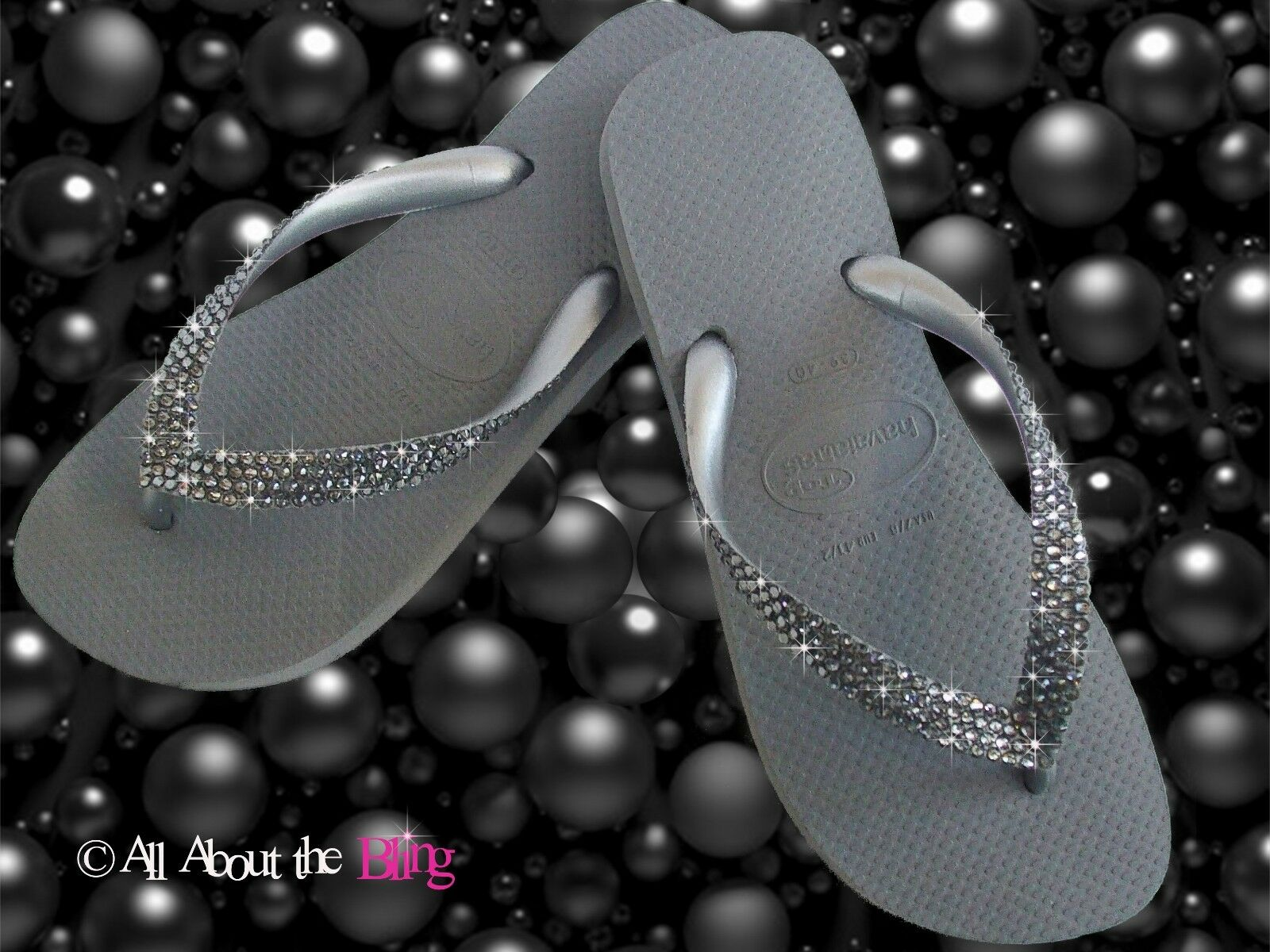 Havaianas flip flop sandal w  SWAROVSKI crystals rhinestone Black Diamond bride