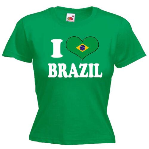 I Love Heart Brazil Ladies Lady Fit T Shirt 13 Colours Size 6-16