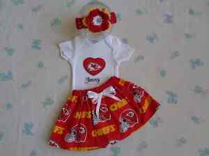 Kansas City Chiefs Baby Girl Skirt, Personalized Bodysuit and Headband.