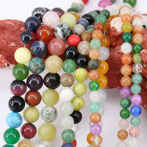 1 Bunch Gemstone Round Loose Spacer Stone Beads Making Necklace 4/6/8/10/12mm