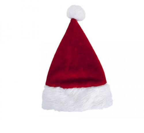 Pulsh LUSSO CAPPELLO ROSSO BABBO NATALE Natale Babbo Natale Costume IDEA REGALO