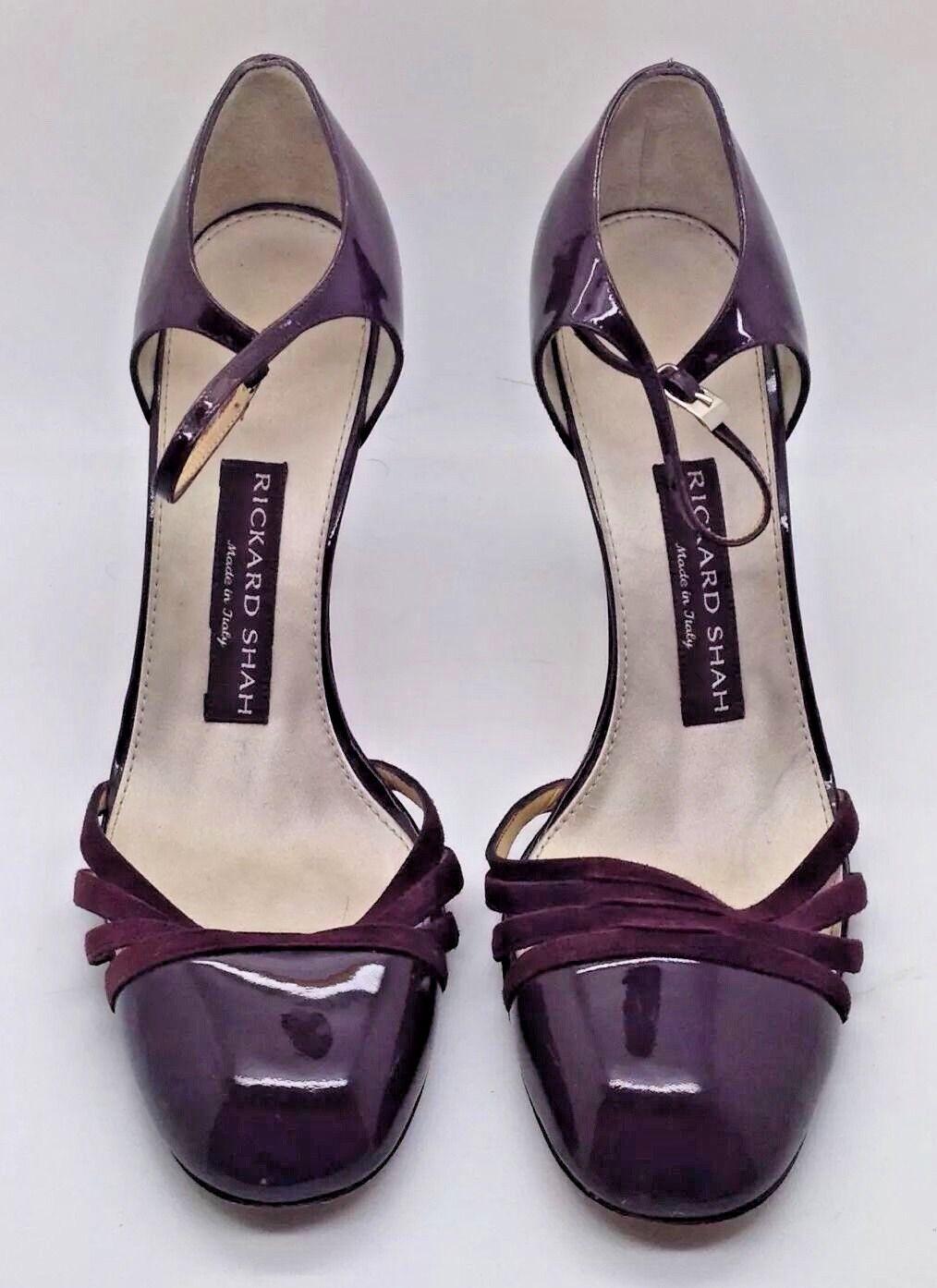 RICKARD SHAH Dark Leder Dark SHAH Purple Patent Leder SHAH Heels Ankle Strap ... 054687