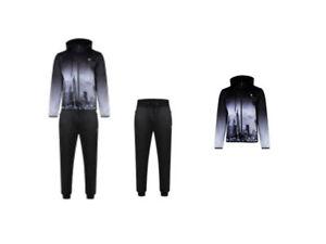 NEW Men/'s D-Rock  London Skyline Zip Through Hooded Jogging Suit Tracksuit Jog