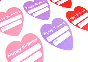 Image Is Loading Happy Birthday Gift And Present Tags Heart Labels