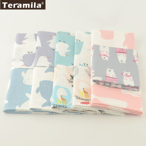 Teramila Cotton Fabric 11 Pcs//lot Mixed Animals Design Bedding Twill Quilting