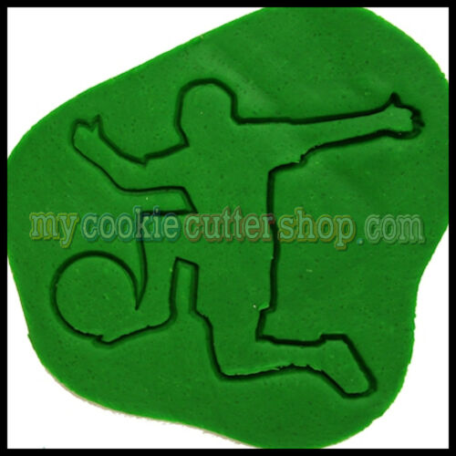 SPORT MALE SOCCER PLAYER COOKIE CUTTER 9cm high x 11cm widE