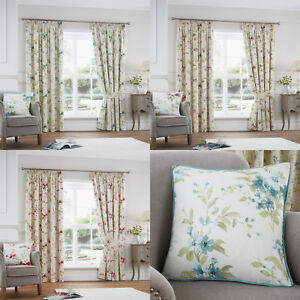 Floral Tape Top Curtains Pencil Pleat Ready Made Fully Lined Dragonfly Heather