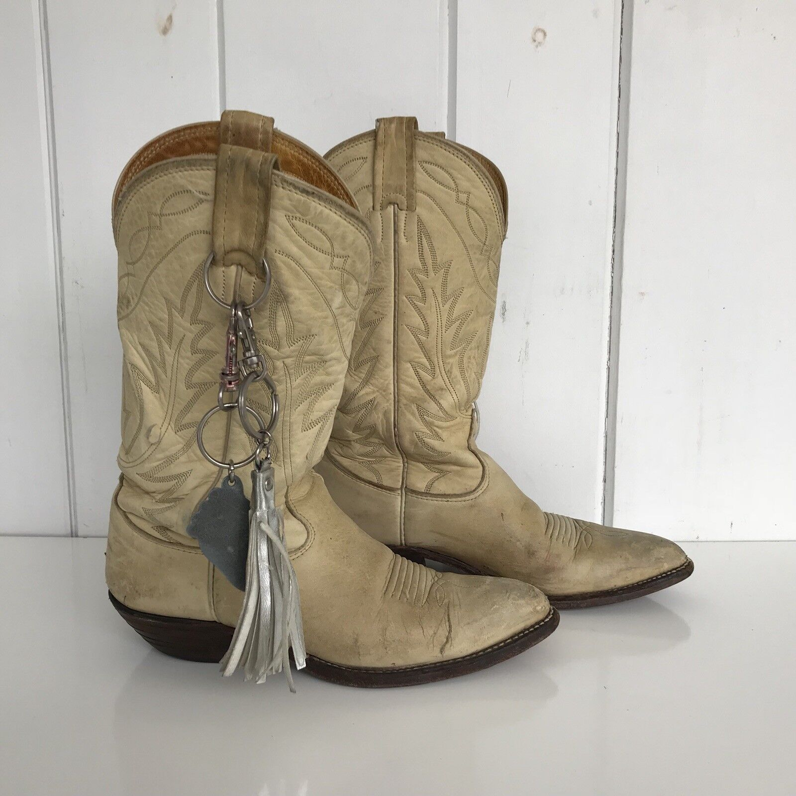 Nocona Boots Womens Deer Tanned Bone Leather Cowgirl Western Size 6C Very Worn