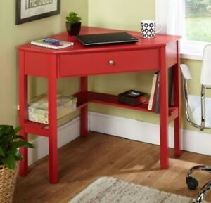 Details about Small Corner Desk Laptop Computer Storage Writing Home Office  Bedroom Dorm Red
