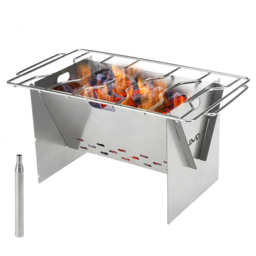 Outdoor Stainless Steel Wood Barbecue Grill Portable Camping BBQ Cooker Pit R1S5