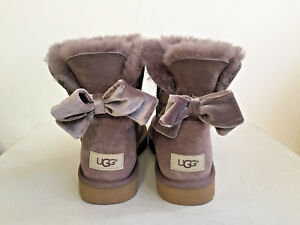 64cf0a4b4df Details about UGG WOMEN MINI BAILEY BOW II VELVET STORMY GREY BOOT USA 9 /  EU 40 /UK 7.5