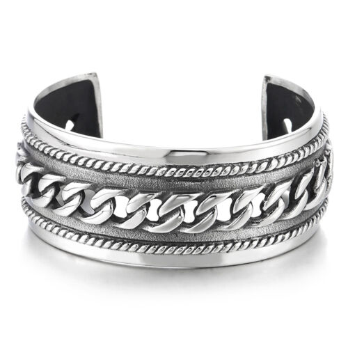 Masculine Wide Steel Cuff Bangle Bracelet for Men Women with Curb Chain Ornament