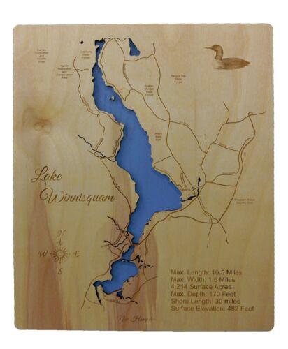 Wooden 2D Cut NH Map Small Standout WALL ART Engraved Winnesquam
